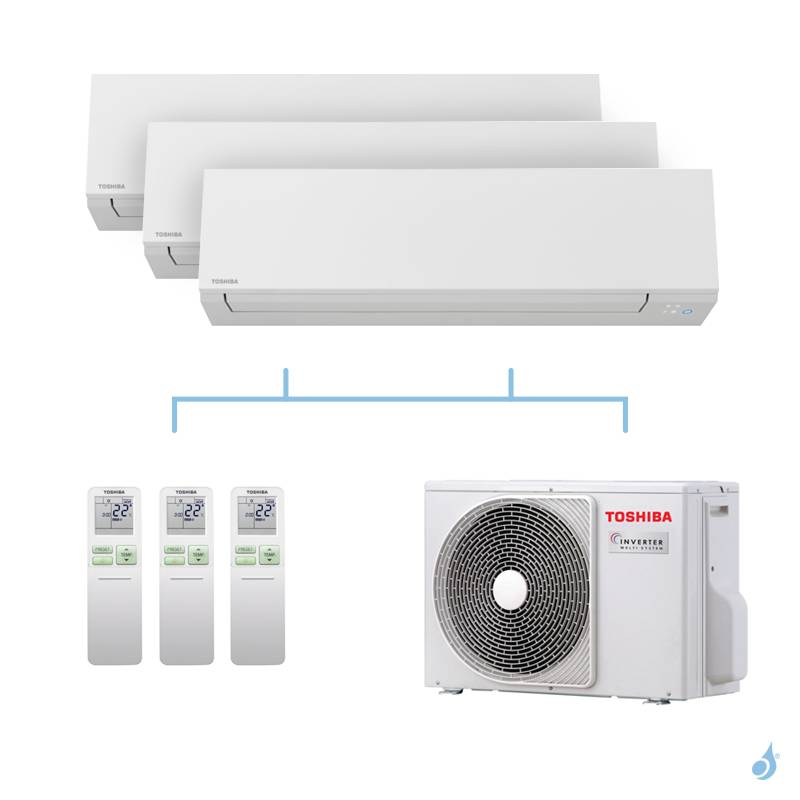 TOSHIBA climatisation Tri splits Shorai + R32 5,2kW RAS-M05J2KVSG-E + RAS-B13J2KVSG-E + RAS-B16J2KVSG-E + RAS-3M18U2AVG-E A++