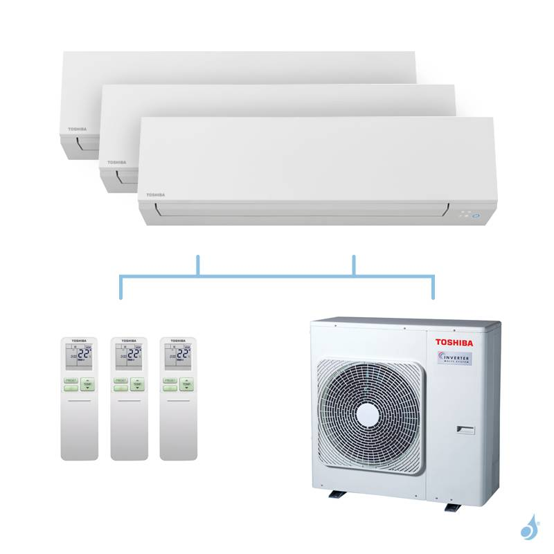 TOSHIBA climatisation Tri splits Shorai + R32 7,5kW RAS-B07J2KVSG-E + RAS-B07J2KVSG-E + RAS-B13J2KVSG-E + RAS-3M26U2AVG-E A++