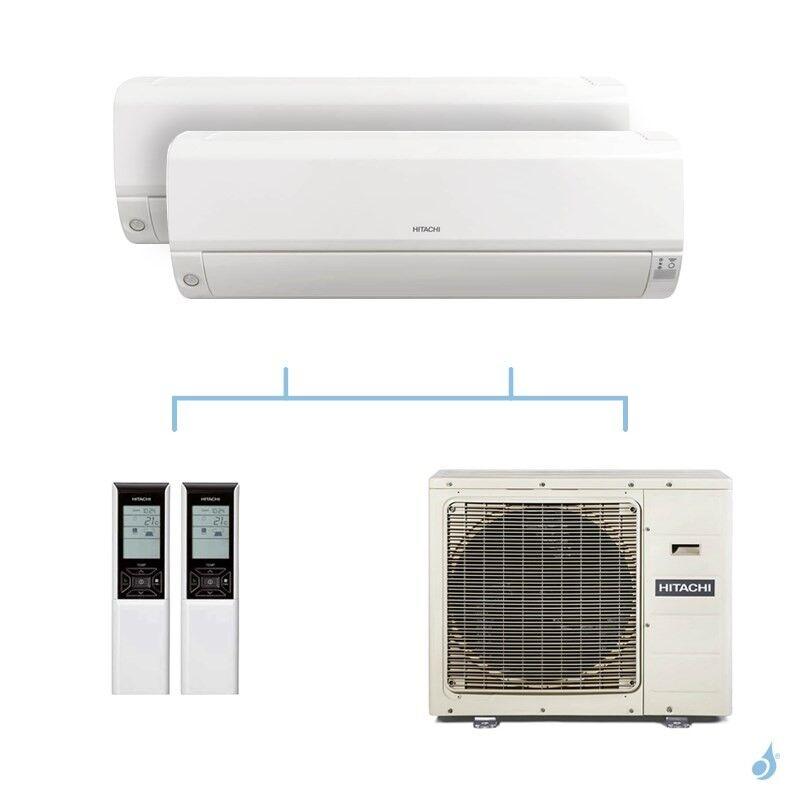 HITACHI climatisation bi split murale Mokai gaz R32 RAK-15QPE + RAK-18RPE + RAM-90NP5E 8,5kW A++
