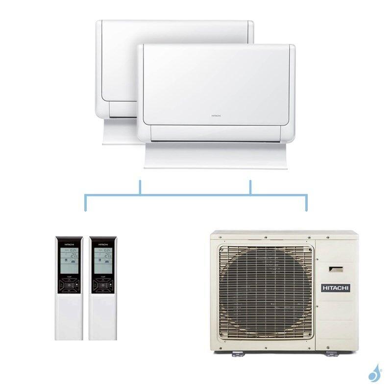 HITACHI climatisation bi split console Shirokuma gaz R32 RAF-25RXE + RAF-35RXE + RAM-90NP5E 8,5kW A++