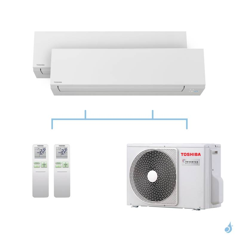 TOSHIBA climatisation bi split mural Shorai Edge + R32 4kW RAS-B07J2KVSG-E + RAS-B10J2KVSG-E + RAS-2M14U2AVG-E A++