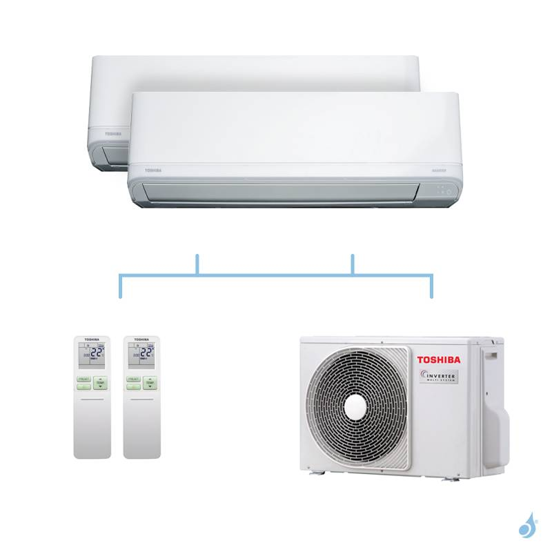 TOSHIBA climatisation bi-splits Daiseikai Light R32 3,3kW RAS-B10J2KVRG-E + RAS-B10J2KVRG-E + RAS-2M10U2AVG-E A++