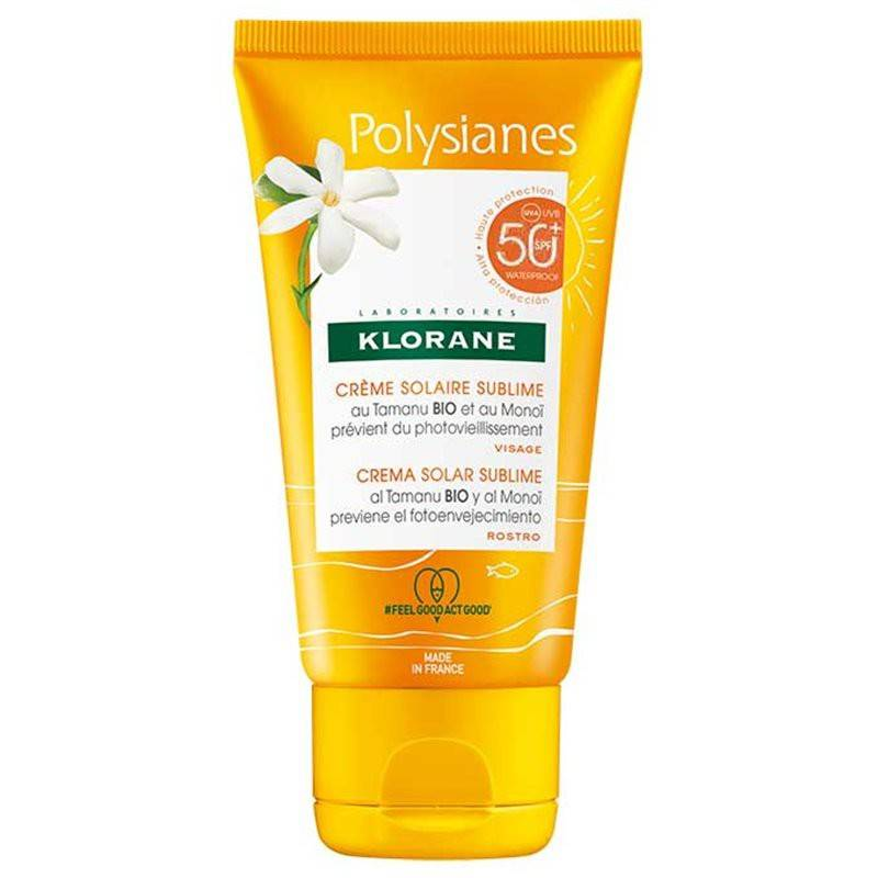 Polysianes Klorane Polysianes Crème solaire sublime visage au Monoï et Tamanu Bio SPF50 - 50ml