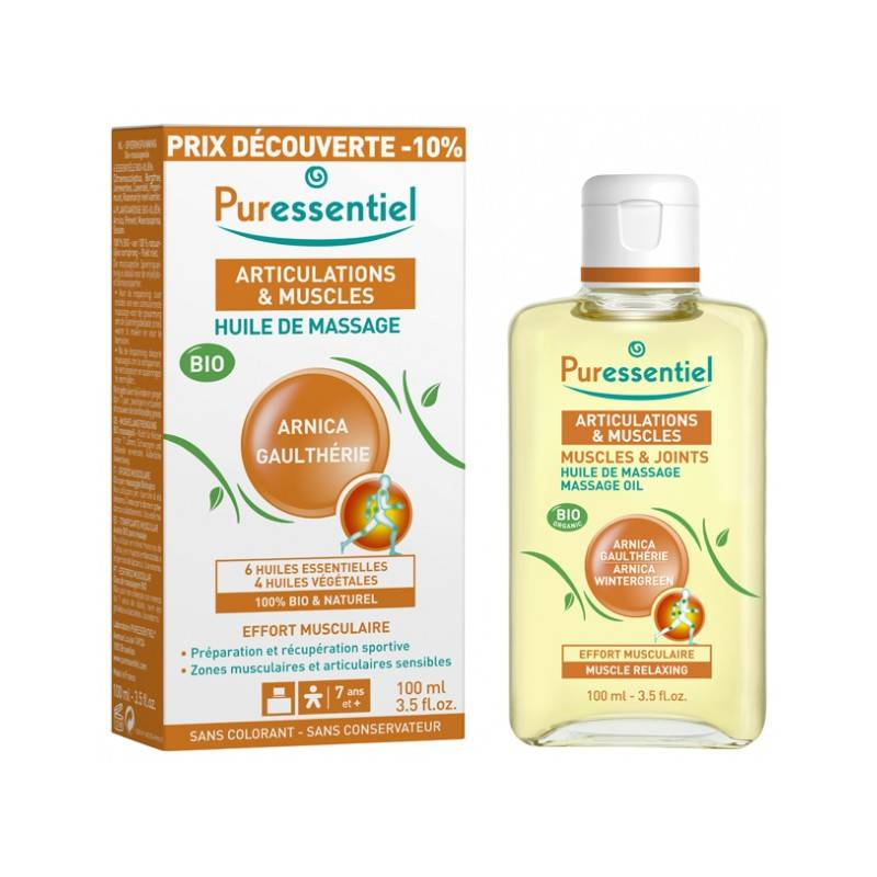 Puressentiel Articulations et Muscles Huile massage arnica & gaulthérie Bio - 100ml