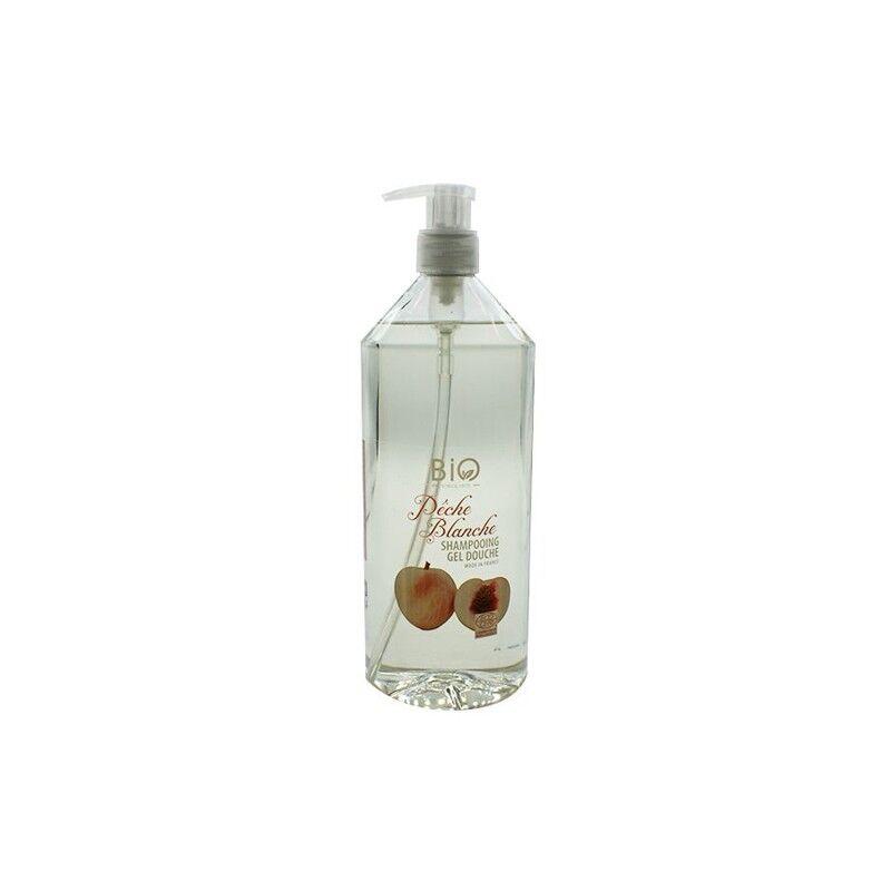 Gravier shampooing gel douche bio pêche blanche 1L