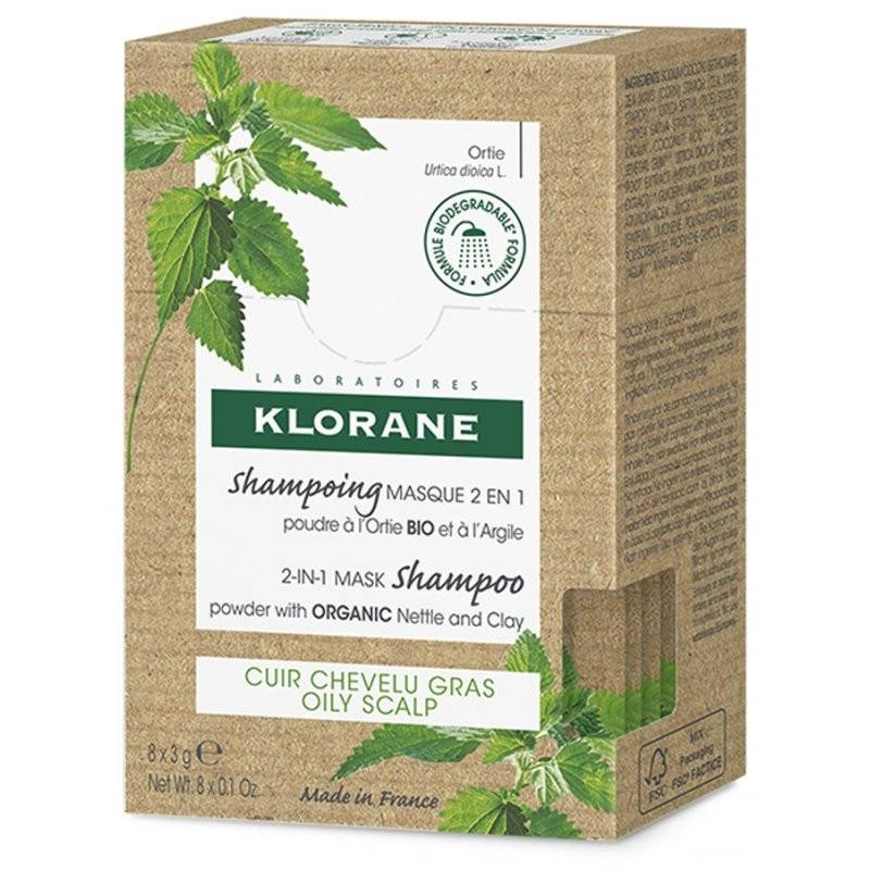 Klorane Shampoing masque 2 en 1 poudre à l'Ortie Bio et argile - 8 sachets
