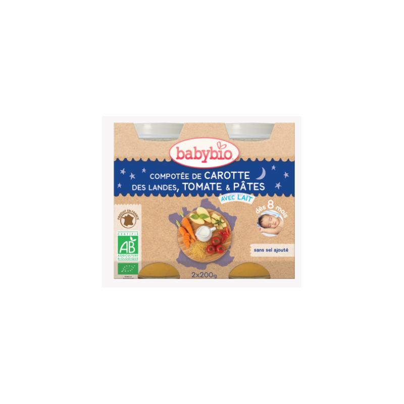 Babybio Compotée de carotte des landes, tomate, pâtes dès 8mois, 2*200g