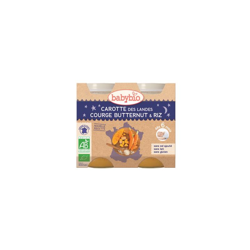 Babybio Carotte des landes, courge butternut et riz, dès 6 mois, 2*200g