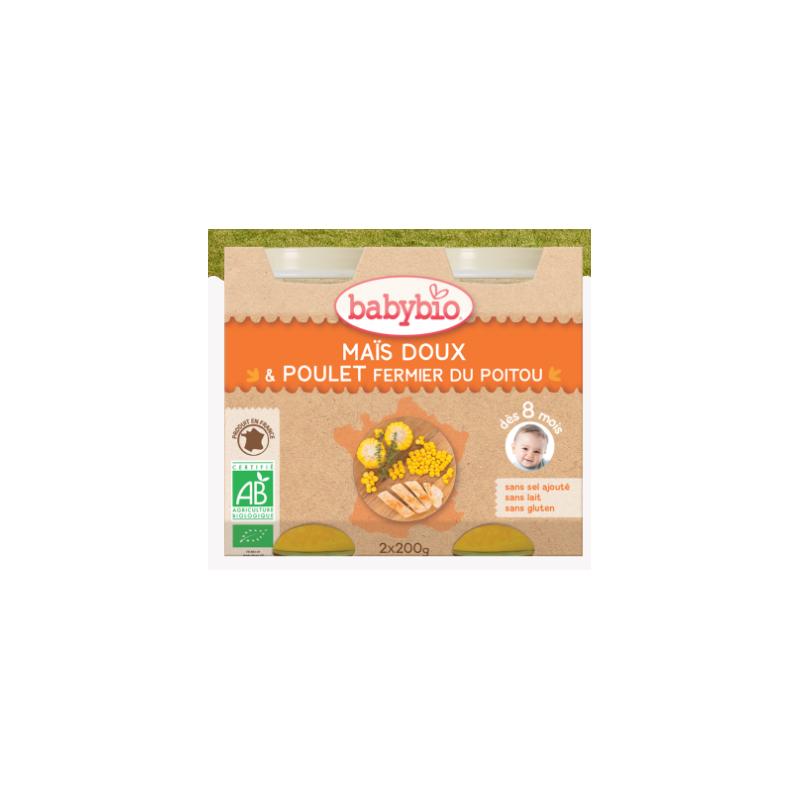 Babybio maïs doux poulet fermier du poitou, dès 8 mois, 2*200g