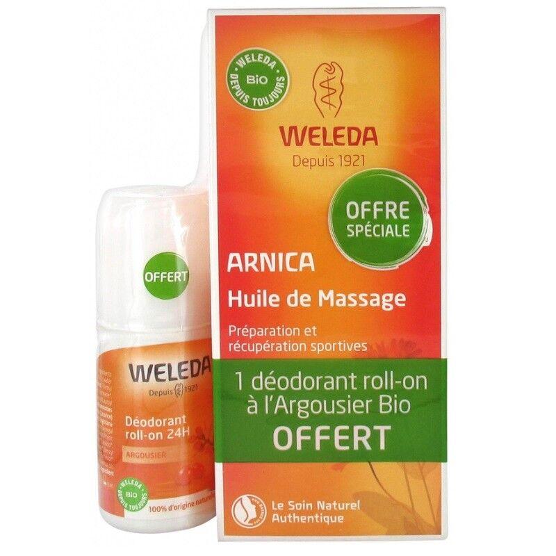 Weleda Huile de massage à l'Arnica 200ml + Déodorant Argousier roll-on 50ml Offert