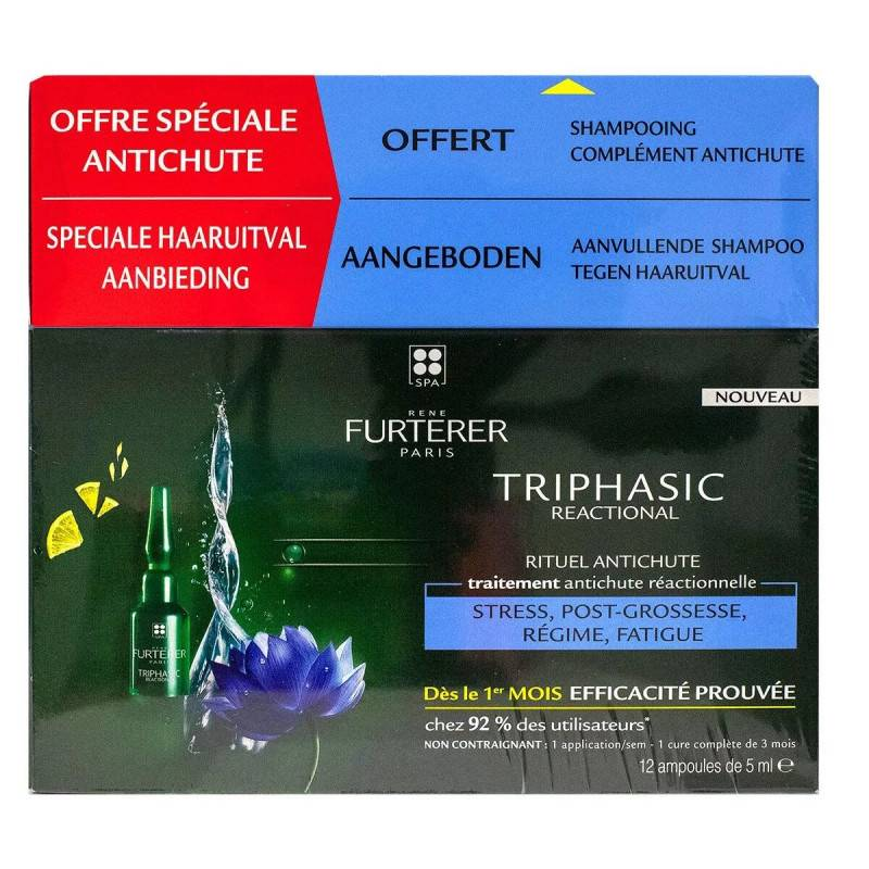 René Furterer Furterer Triphasic Reactional Rituel anti-chute Traitement antichute réactionnelle 2 x 5 ml + Shampoing stimulant 100ml Offert