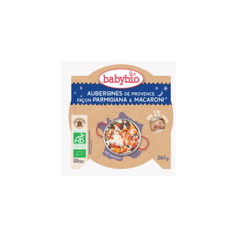 Babybio Aubergine de provence façon parmigiana, macaroni dès 15mois, 260g