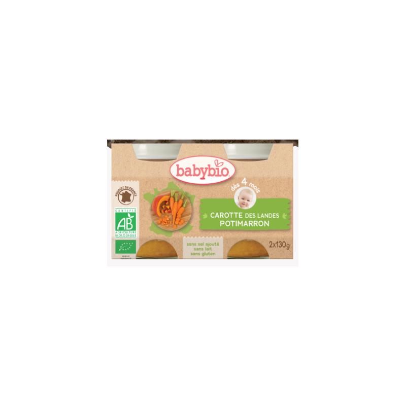 Babybio carotte des landes, potimarron, dès 4 mois, 2*130g