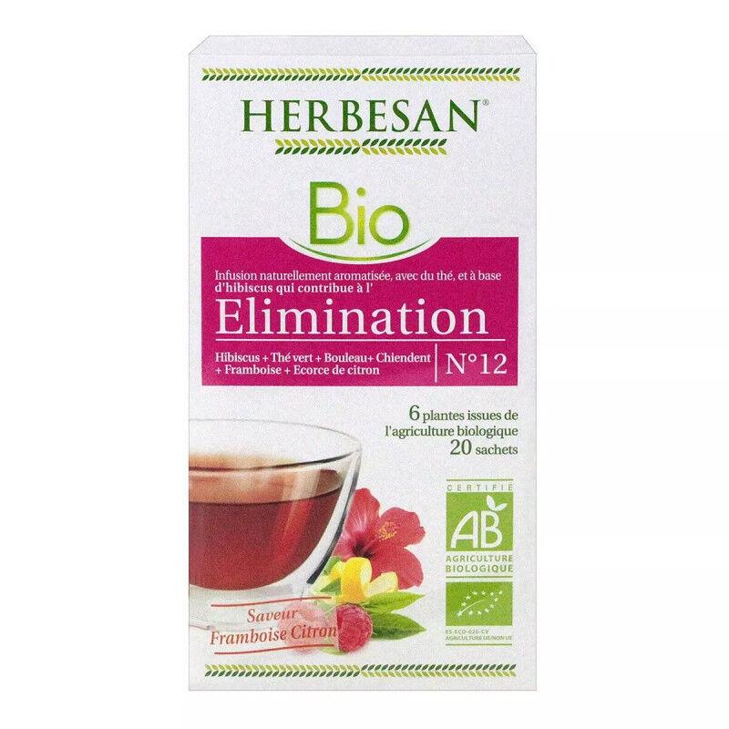 Super Diet Herbesan Infusion Élimination saveur framboise citron N°12 Bio - 20 sachets