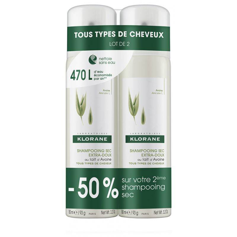Klorane Shampooing Sec Lait d'Avoine  2 x 150ml