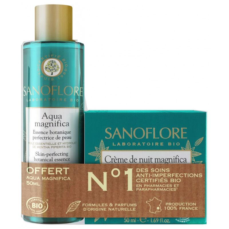 Sanoflore Aqua Magnifica Crème de nuit Bio 50ml + Eau botanique offerte offert 50ml