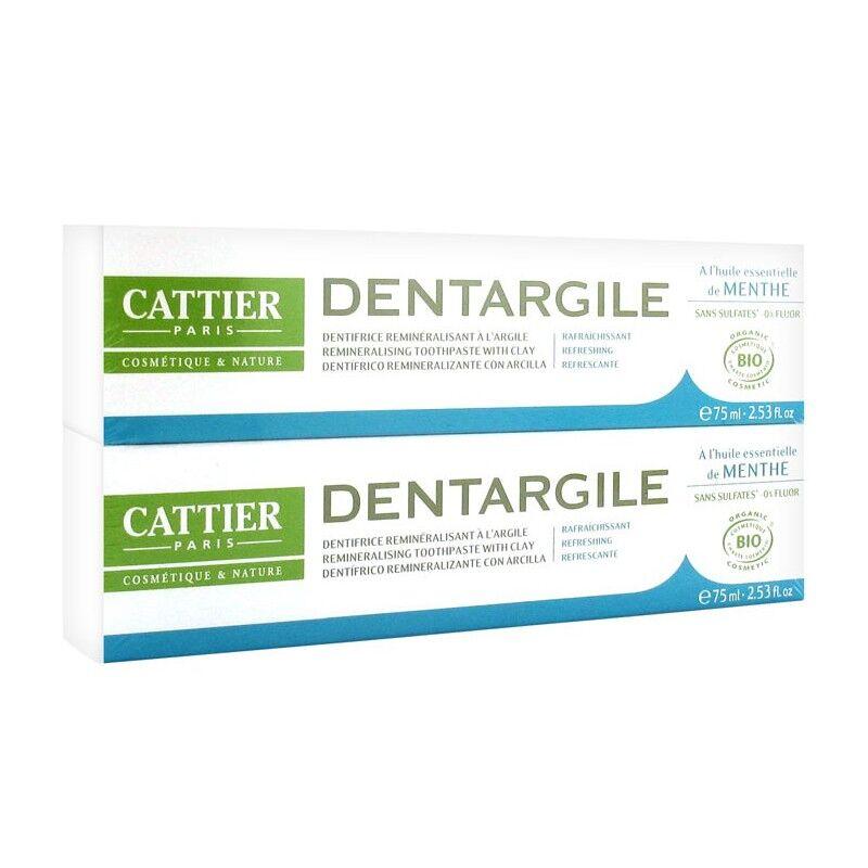 Cattier dentargile dentifrice rafraîchissant à l'argile - lot de 2 x 75ml