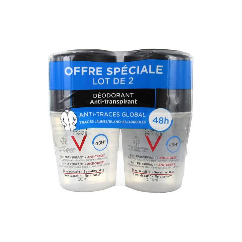 Vichy homme déodorant anti-transpirant anti-traces 48H 2x50ml