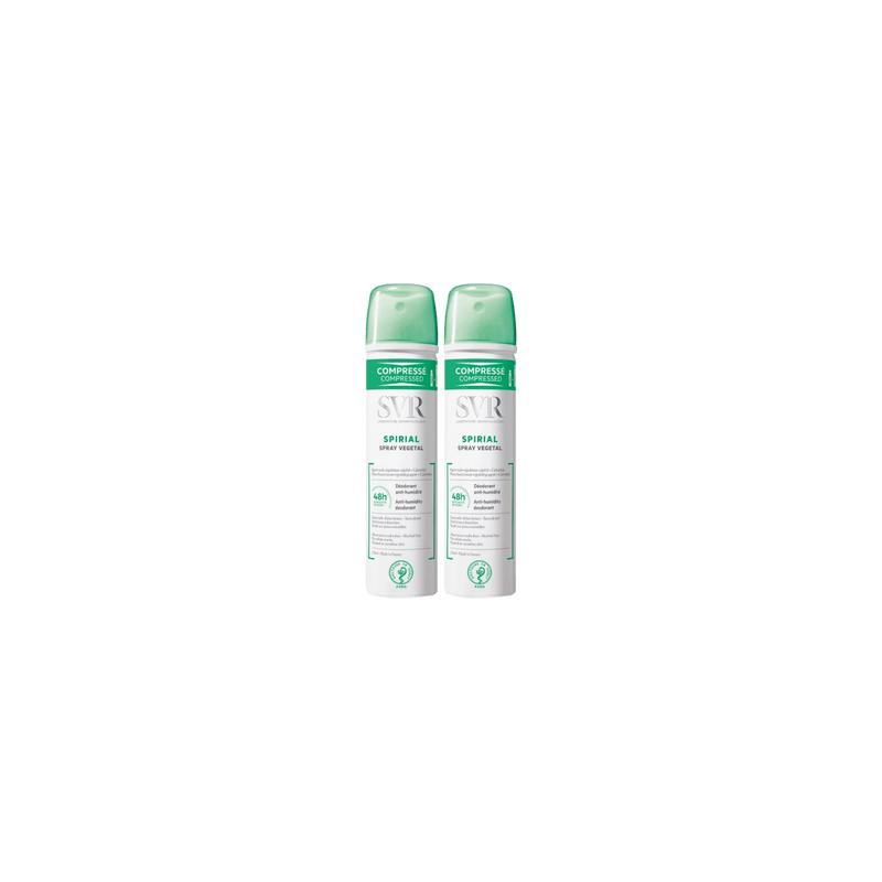SVR Spirial déodorant végétal spray compressé 48h - Lot de 2 x 75ml