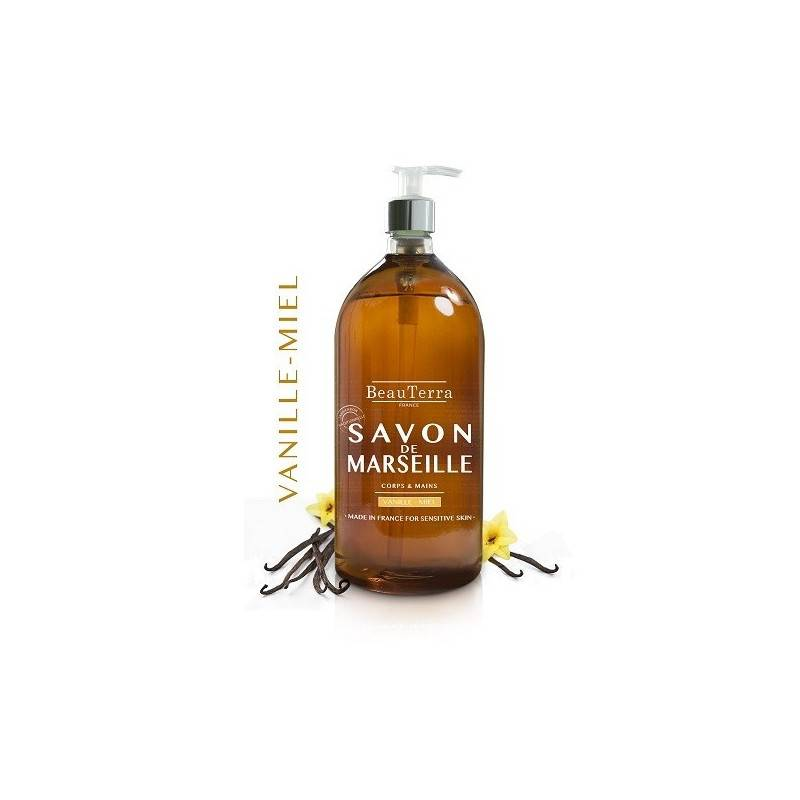 Beauterra savon de Marseille vanille/miel corps et mains 1L