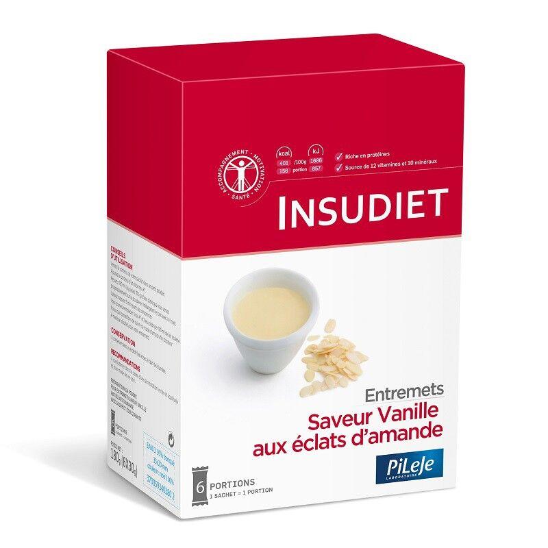 Insudiet Entremets saveur vanille éclats d'amande - Boîte de 6 sachets