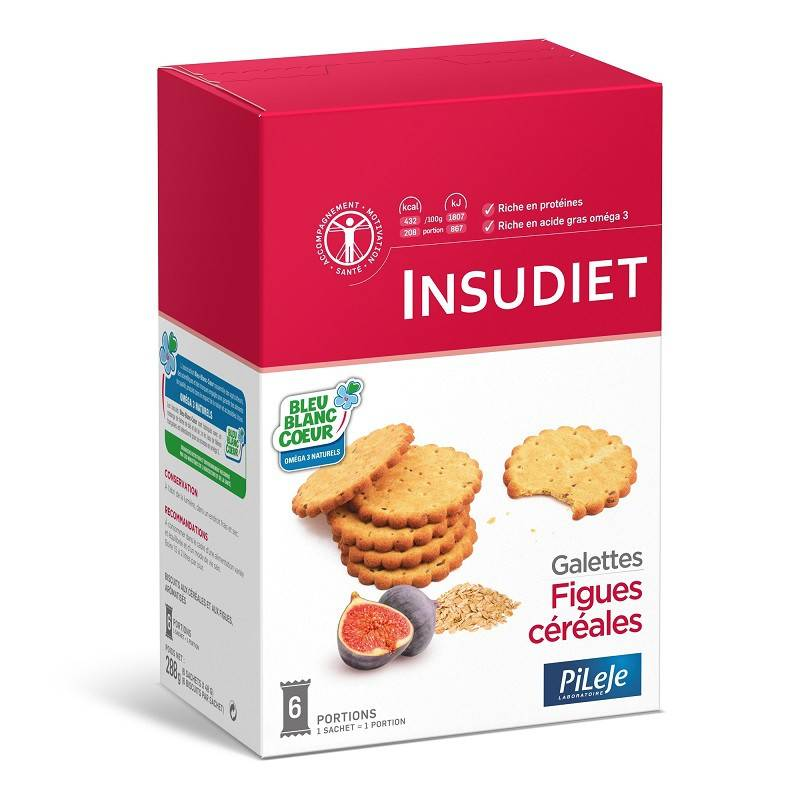 Insudiet Galettes figues céréales - 6 sachets de 6 biscuits
