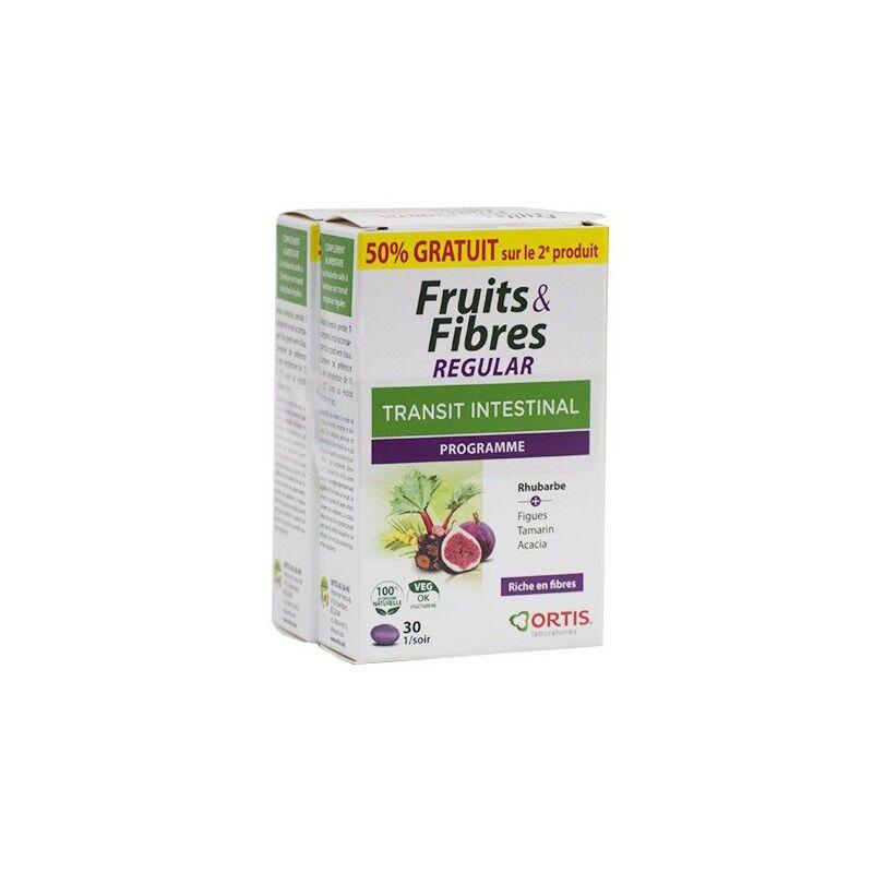 Ortis Fruits & Fibres Regular Transit intestinal - Lot de 2 x 30 comprimés