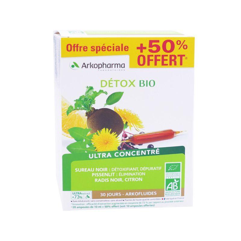 Arkopharma Arkofluides Détox Bio - 20 ampoules +50 % Offert