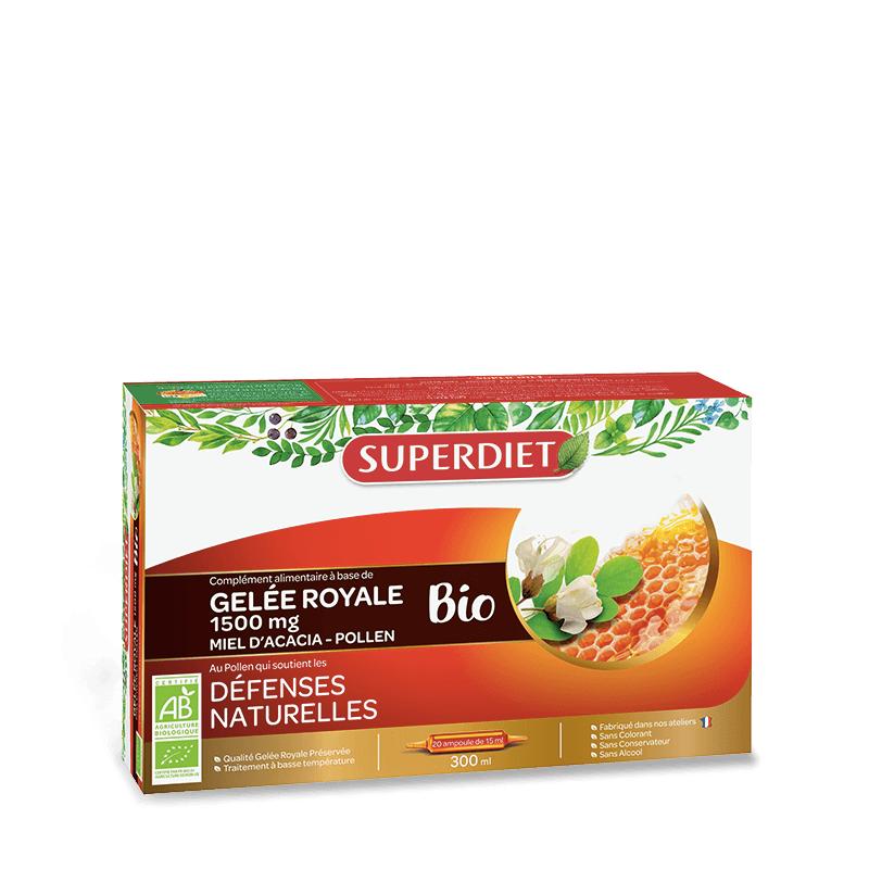 Super Diet Superdiet Gelée royale, miel d'acacia & pollen Bio - 20 ampoules