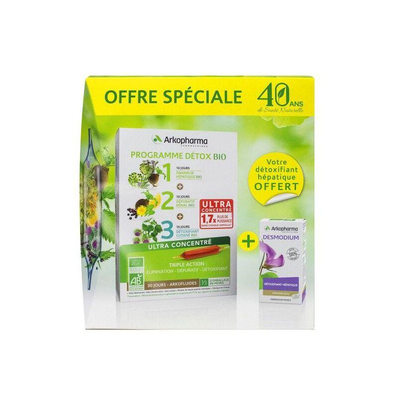 Arkopharma Arkofluides Programme détox bio 30 ampoules + Desmodium 45 gélules Offertes