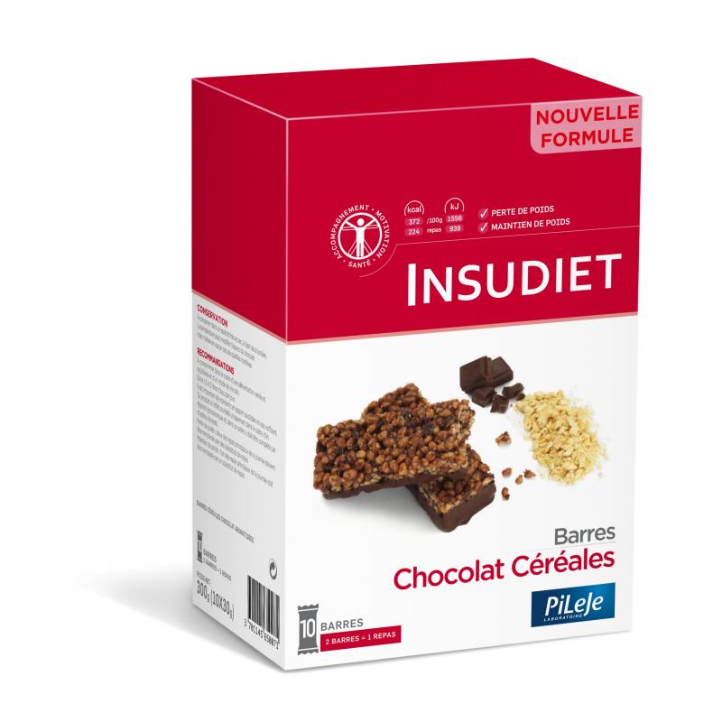 Insudiet Barre chocolat Céréales x 10