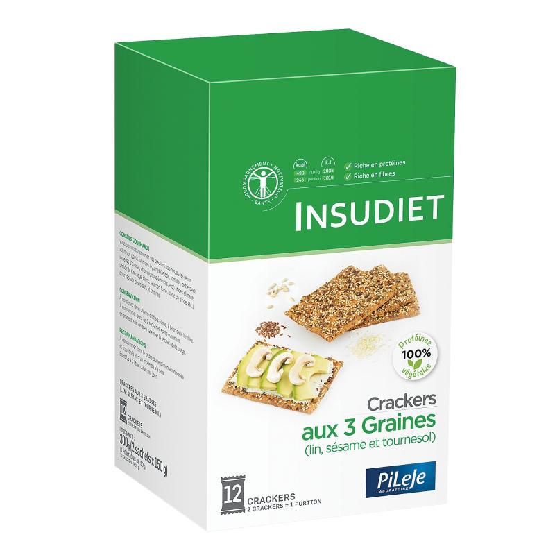 Insudiet crackers aux 3 graines x 12