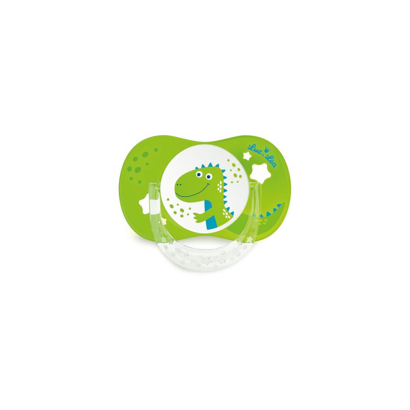Luc et Léa 2 sucettes silicone 6/18 mois dinosaures
