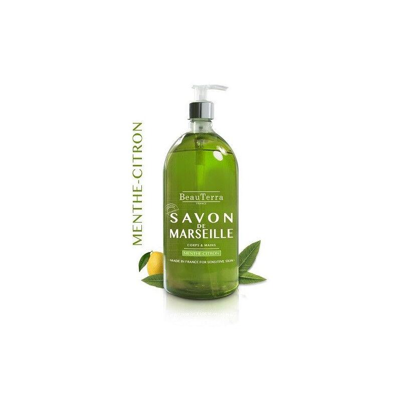 Beauterra savon de Marseille menthe citron corps et mains 1L