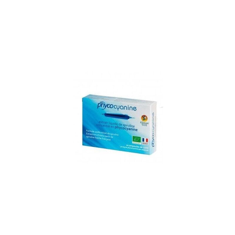Flamant Vert Phycocyanine extrait liquide de spiruline 20 ampoules