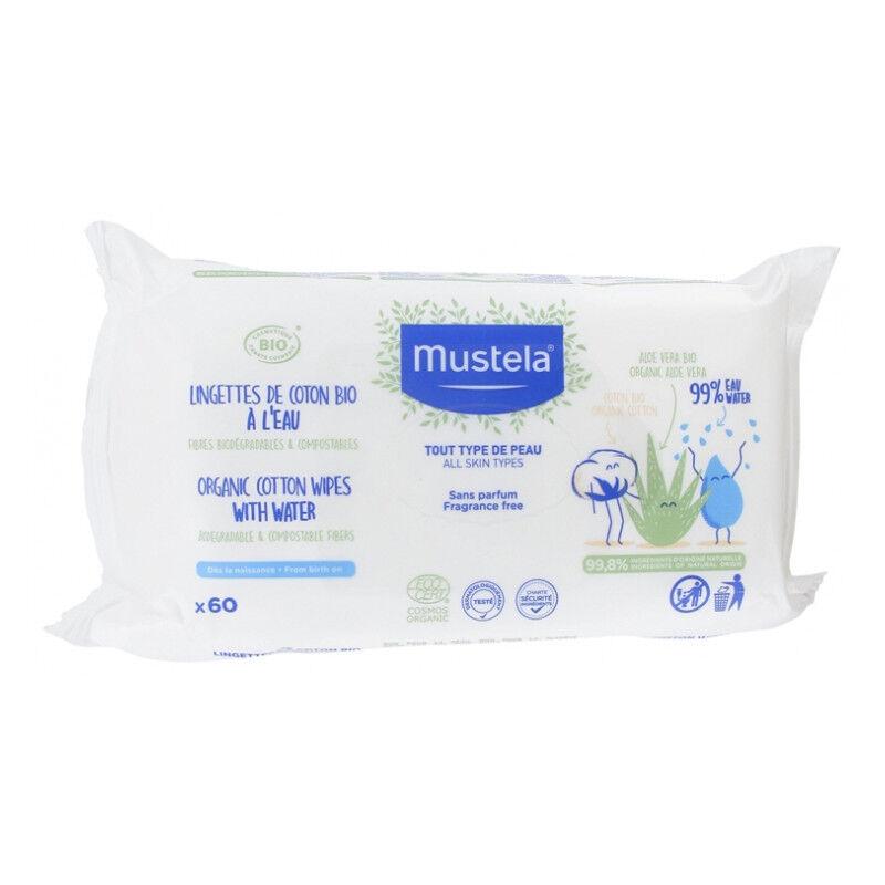 Mustela Lingettes de coton Bio à l'eau - X 60 lingettes