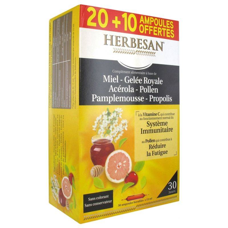Super Diet Herbesan Miel Gelée Royale Acérola Pollen Pamplemousse Propolis - 20+10 ampoules