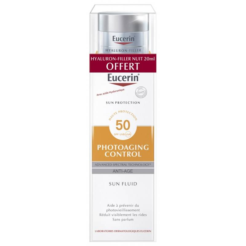 Eucerin Sun Photoaging Control Crème visage SPF50+ - 50ml + Soin de nuit Hyaluron-Filler 20ml Offerte