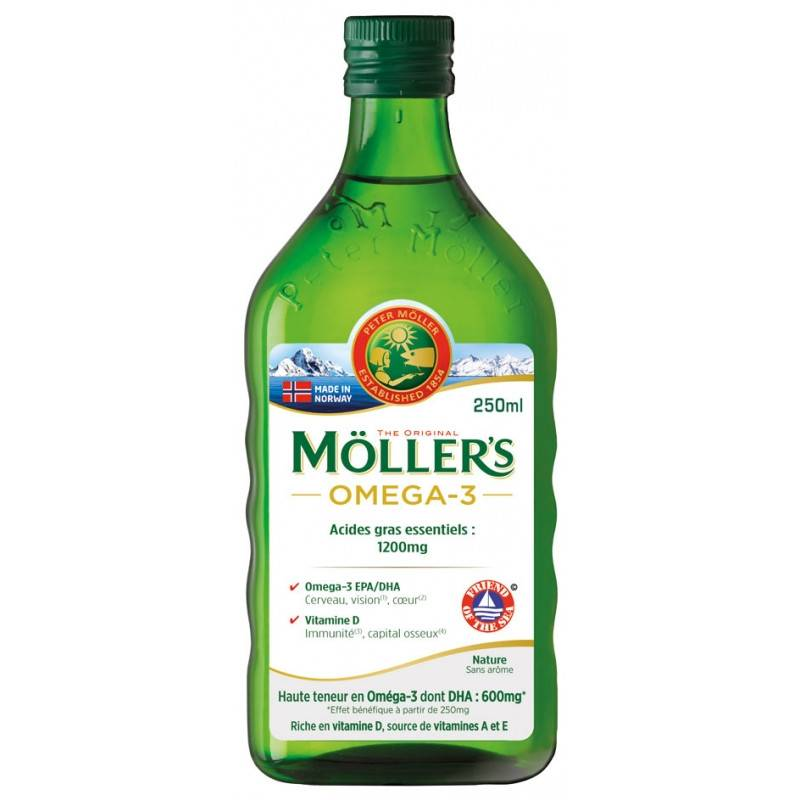 Uberti Möller's Omega-3 Huile de foie de morue sans arôme - 250ml