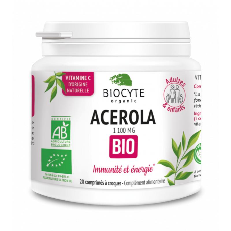 Biocyte Acérola 1100mg Bio - 20 comprimés à croquer