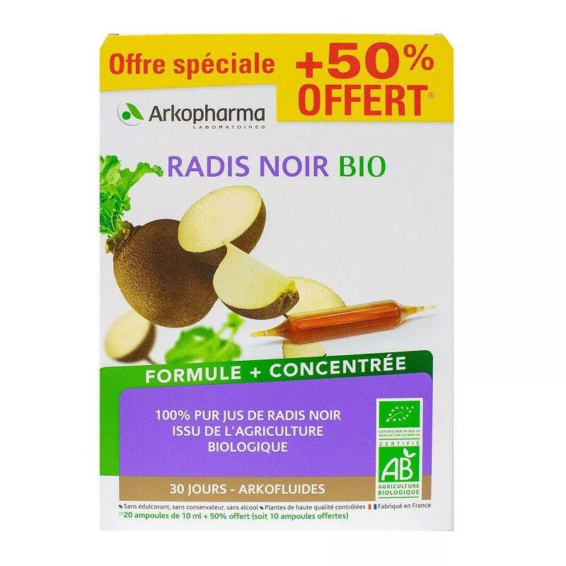 Arkopharma Arkofluides Radis noir Bio - 20 ampoules + 10 Offertes