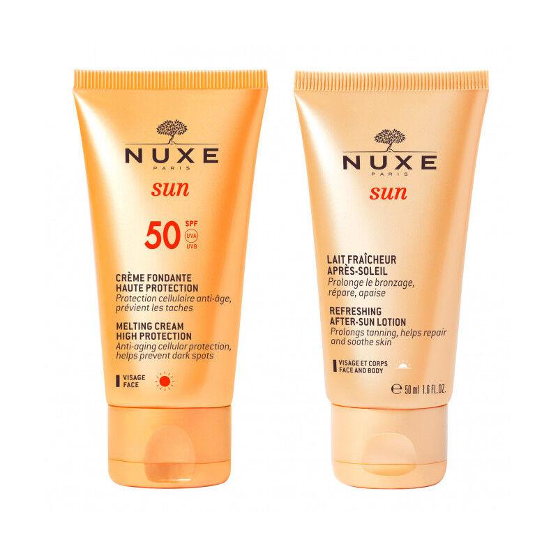 Nuxe Sun Crème fondante haute protection SPF50 50ml + Lait fraîcheur après-soleil 50ml Offert