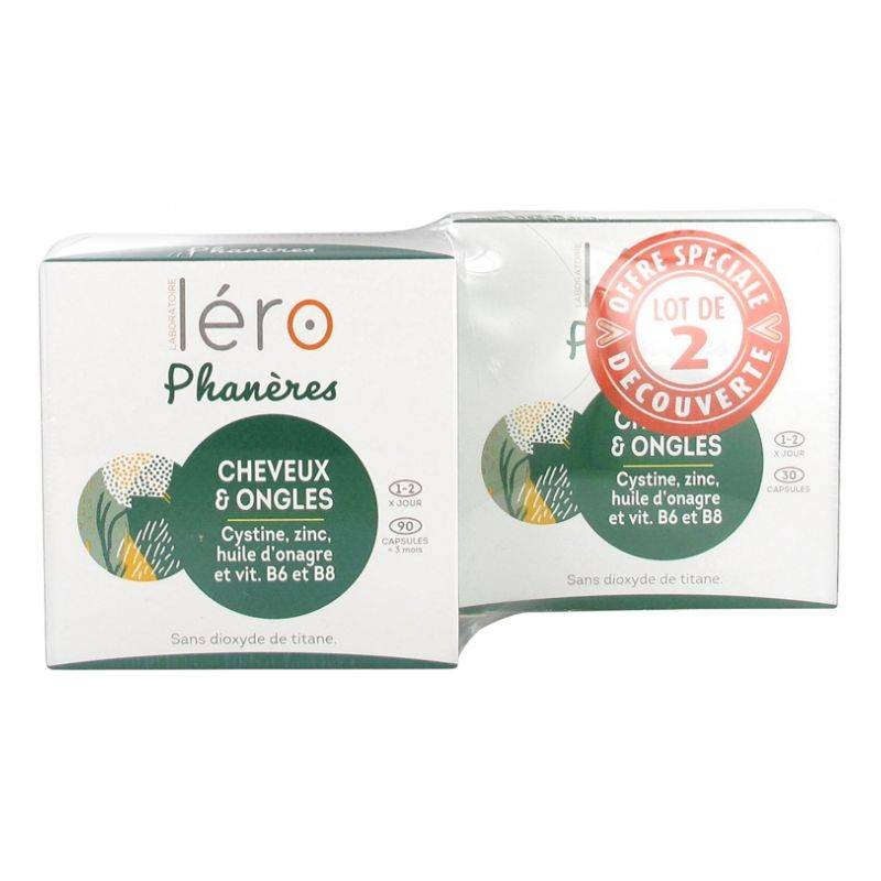 Léro Phanères cheveux et ongles - 90 capsules + 30 offertes