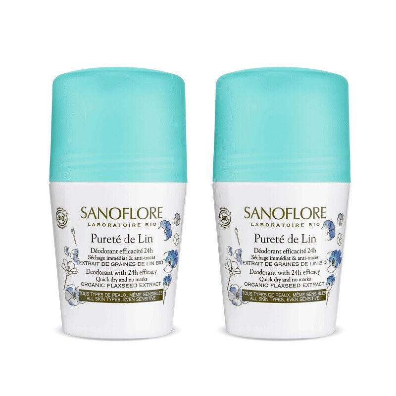 Sanoflore Pureté de Lin Déodorant efficacité 24h Bio - 2 x 50ml