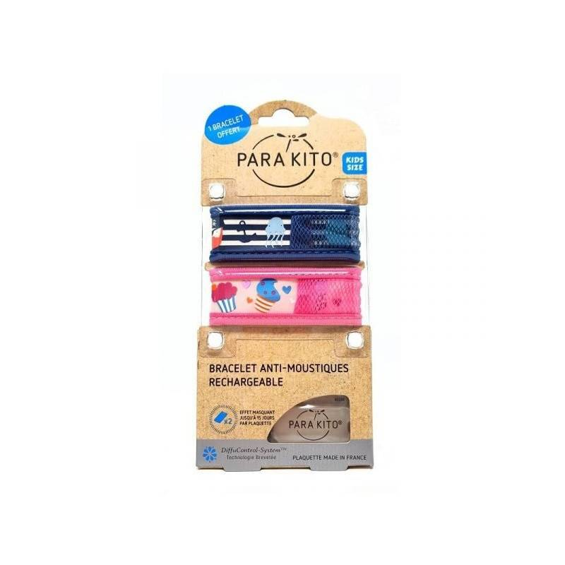 Parakito Kids Bracelet anti-moustiques + 2 recharges + 1 Offert