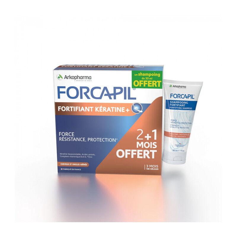 Arkopharma Forcapil Fortifiant kératine+ 180 gélules + Shampoing Forcapil cheveux et ongles abîmés 30ml Offert