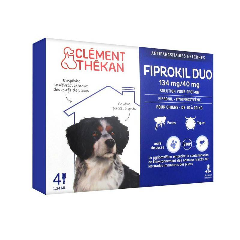 Clement Thekan Clément Thékan Fiprokil Duo 134 mg/40 mg Chien 4 Pipettes