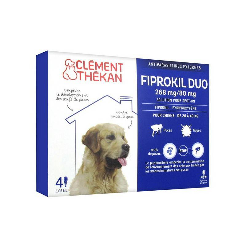 Clement Thekan Clément thékan fiprokil duo 268 mg/80 mg Chien 4 Pipettes