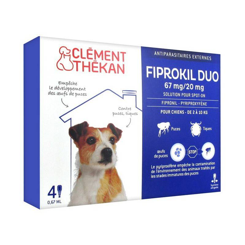 Clement Thekan Clément thékan fiprokil duo 67 mg/20 mg chien 4 pipettes