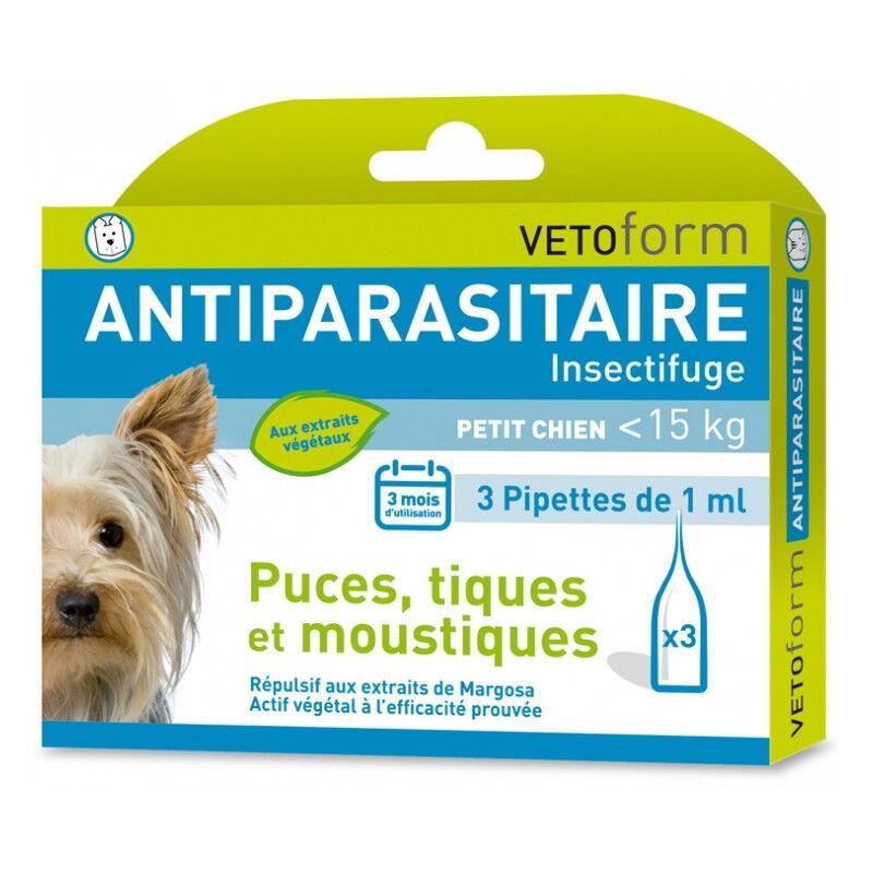 Vetoform Antiparasitaire petit chien -15kg - 3 pipettes